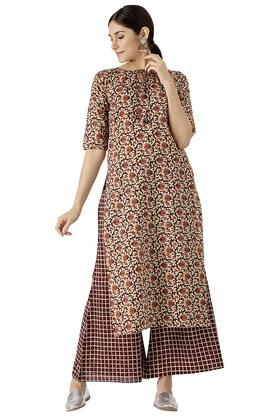 LIBAS Womens Cotton Printed Kurta And Checks Palazzo