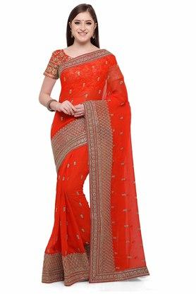 VRITIKA Womens Zari Work Saree With Blouse - 204144529_9607