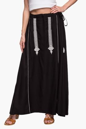 IMARA Womens Solid Embroidered Long Skirt