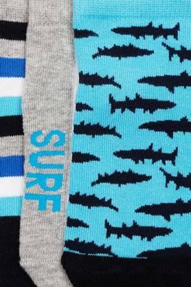 Boys Printed Stripe and Solid Socks - Pack of 3