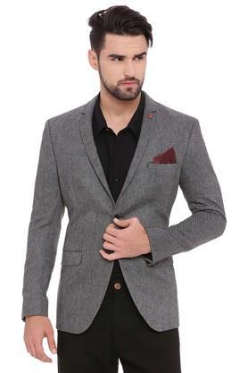 Mens Notched Lapel Textured Jacket