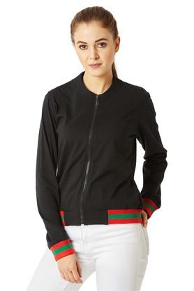 MISS CHASEWomens Zip Through Neck Solid Jacket