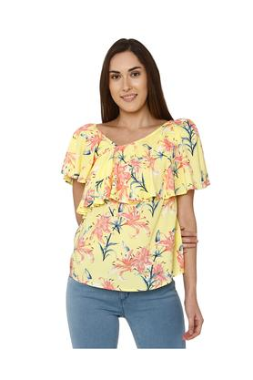 Womens Surplice Neck Floral Print Top