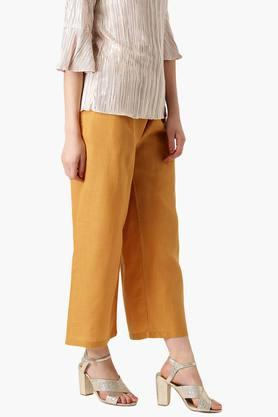 Womens Cotton Solid Palazzo