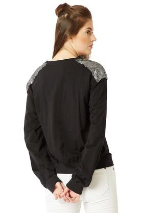 Womens Round Neck Solid Paneled Sequined Sweatshirt