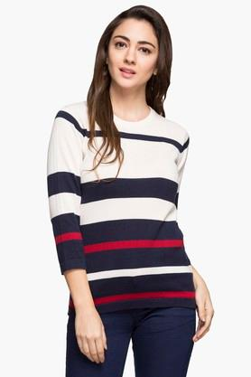 STOP Womens Round Neck Stripe Sweater - 203355110
