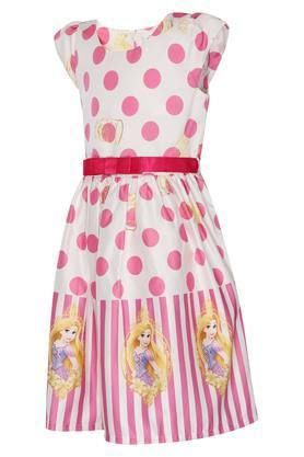 Girls Round Neck A-Line Dress With Belt