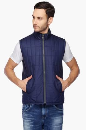 COLOR PLUSMens Zip Through Neck Solid Reversible Jacket