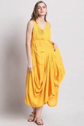 Womens Round Neck Solid Asymmetrical Dress