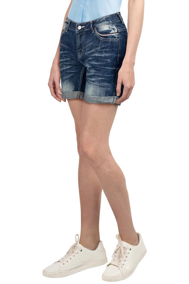 Womens 5 Pocket Whiskered Effect Shorts