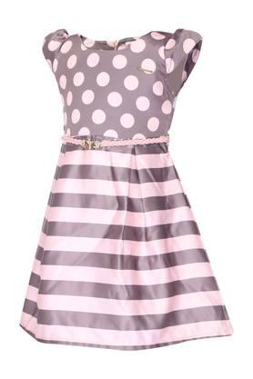 Girls Round Neck Printed A-Line Dress with Belt