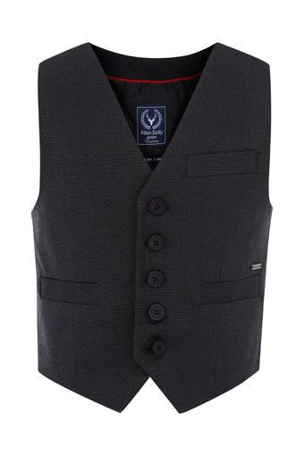 Boys V- Neck Textured Waistcoat