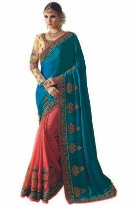 VRITIKA Womens Embroidered Saree With Blouse - 204144518_9557