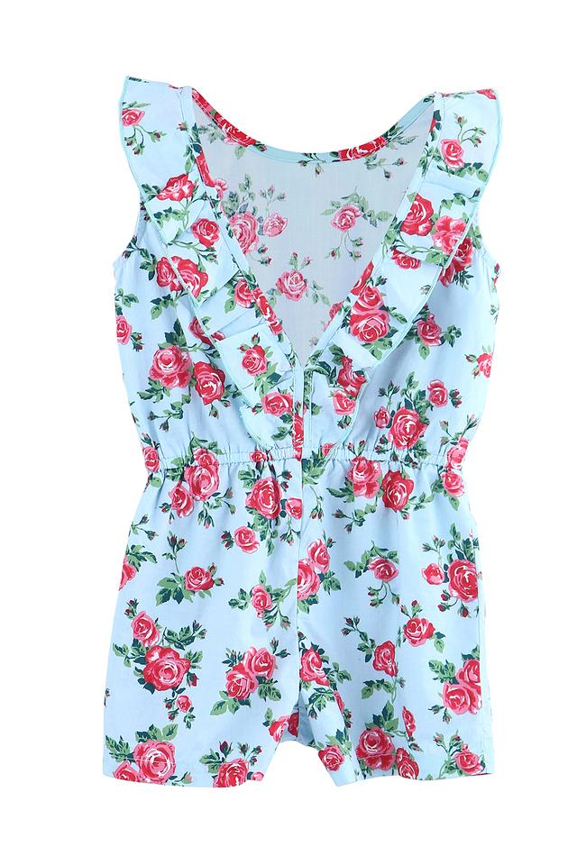 Girls Round Neck Floral Print Jumpsuit