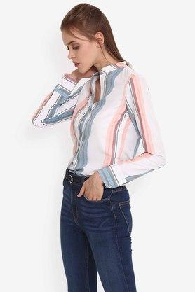 Womens Mandarin Neck Striped Shirt