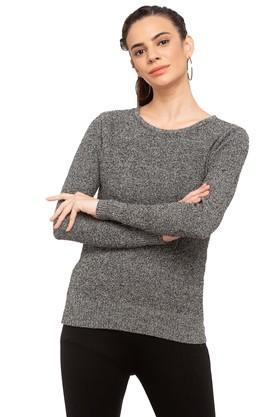 LIFEWomens Round Neck Textured Sweater