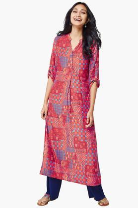 GLOBAL DESI Womens Rolled Up Sleeves Kurta