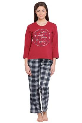 Womens Round Neck Graphic Print Top and Checked Pyjama Set