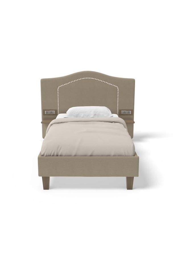 Self Pattern Upholster Headboard Single Bed with 6 Amp Modular Switch