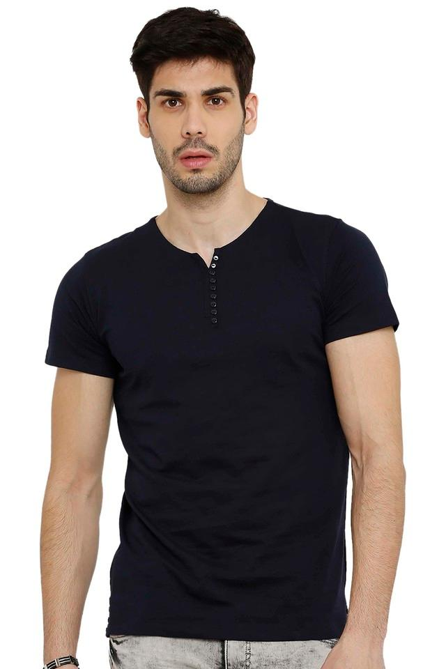 Mens Notched Collar Solid T-Shirt