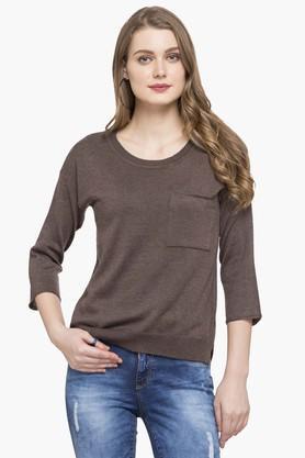 FRATINI WOMANWomens Round Neck Slub Sweater