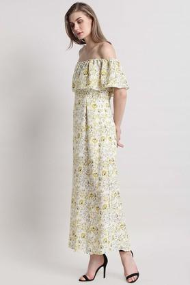 Womens Off Shoulder Printed Maxi Dress