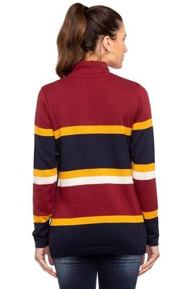 Womens Band Neck Stripes Sweater