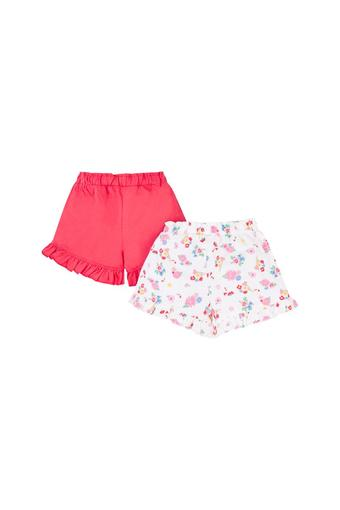 Girls Floral Print and Solid Shorts - Pack Of 2