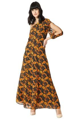 Womens Slim Fit One Shoulder Neck Printed Maxi Dress