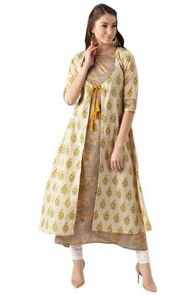 LIBAS Womens Cotton Printed Aline Kurta And Ethnic Jacket