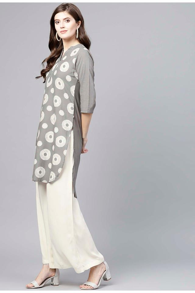 Womens Mandarin Neck Printed Kurta and Palazzo Set
