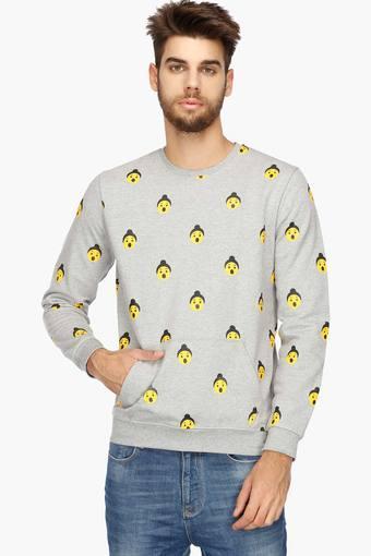 Mens Regular Fit Round Neck Printed Sweatshirt