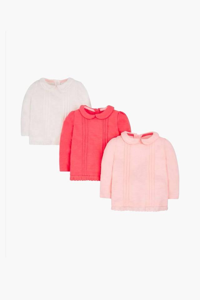 Girls Collared Solid Top Pack of 3