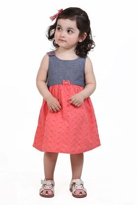 Girls Round Neck Printed Mini Dress
