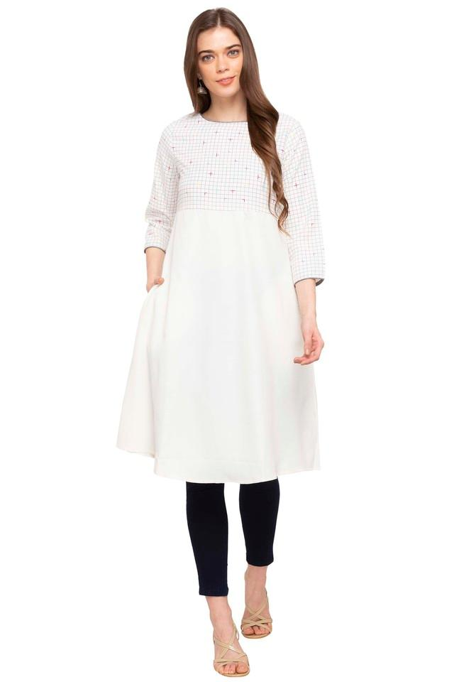 Womens Boat Neck Checked Kurta
