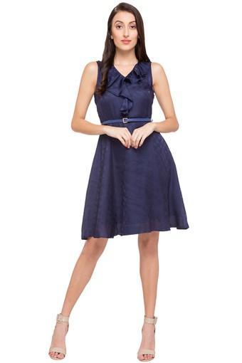 Womens V Neck Self Pattern Skater Dress
