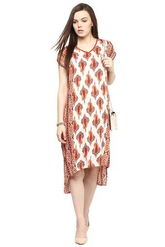Womens V- Neck Printed High Low Dress