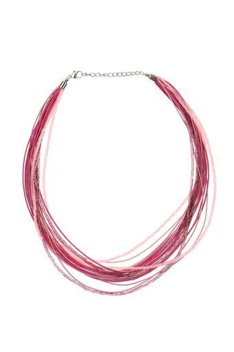 Womens Silver Plated Beads Multi String Necklace