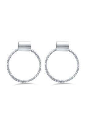Womens Circle Textured Drop Earrings