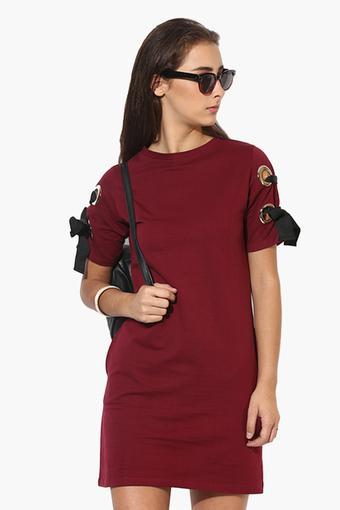 Womens Round Neck Solid Sweat Dress