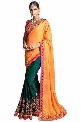 VRITIKA Womens Embroidered Saree With Blouse - 204144527_9407