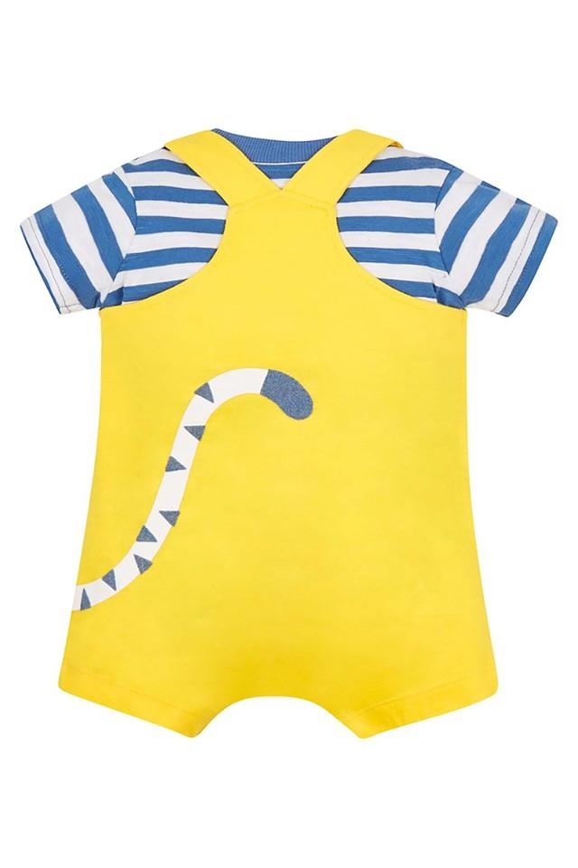 Kids Round Neck Printed Dungaree and Striped T-Shirt