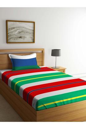 PORTICO Stripe Single Bed Sheet With Pillow Cover - 203990040_9900