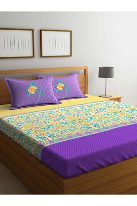 PORTICO Floral Printed Double Bed Sheet With Pillow Cover - 203989980_9900