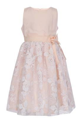 Girls Round Neck Lace Embroidered Flared Dress
