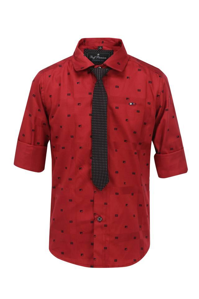 Boys Collared Printed Shirt with Tie