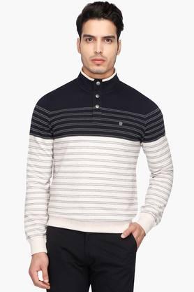 OCTAVEMens Stripe Mao Collar T-Shirt