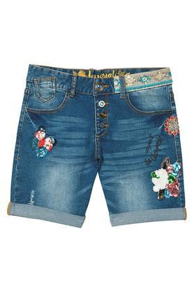Womens 5 Pocket Embellished Shorts