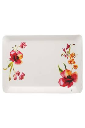 Four O Clock Rectangular Floral Printed Serving Tray