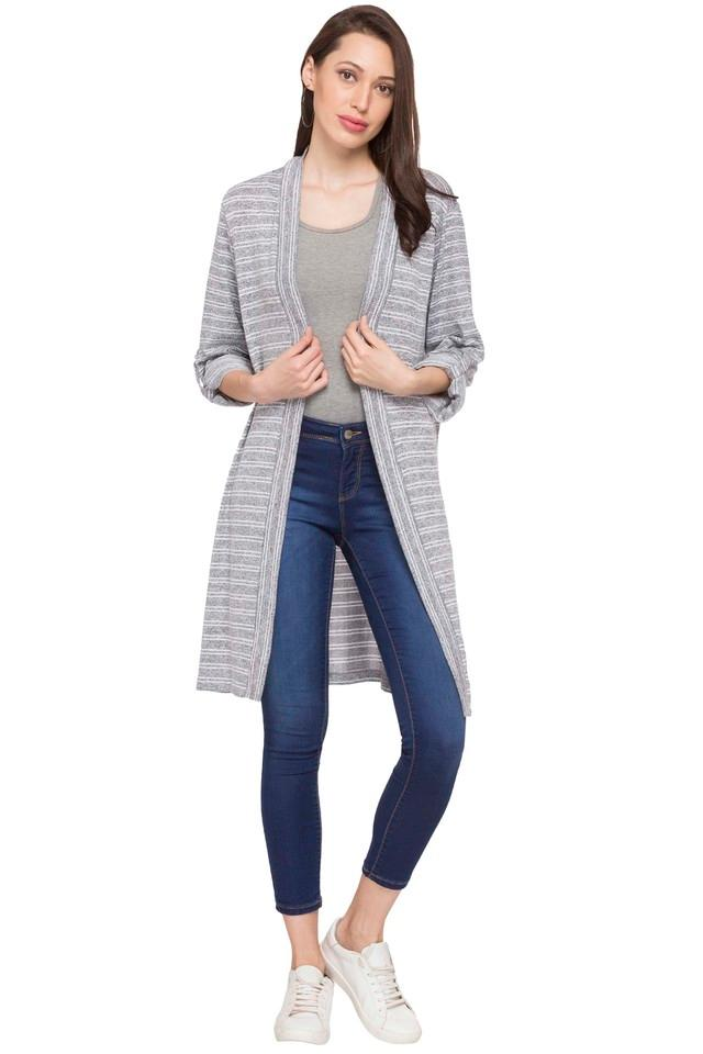 Womens Open Front Stripe Shrug